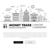 Negócio de operação bancária e indústria modernos do comércio Imagem de Stock