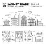 Negócio de operação bancária e indústria modernos do comércio Imagens de Stock Royalty Free