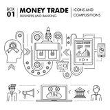 Negócio de operação bancária e indústria modernos do comércio Foto de Stock Royalty Free
