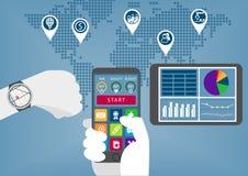 Negócio digital móvel infographic com a mão que guarda o telefone e o relógio espertos ilustração do vetor