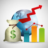 Negócio, dinheiro e economia global Fotografia de Stock Royalty Free