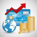 Negócio, dinheiro e economia global Imagens de Stock Royalty Free
