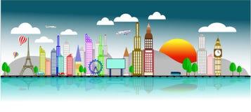 Negócio do curso com aviões, a torre Eiffel e o vetor do sol Fotos de Stock