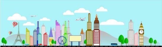 Negócio do curso com ilustração do vetor da torre Eiffel Imagem de Stock