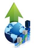 Negócio do gráfico do globo Fotos de Stock