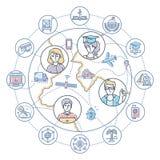 Negócio do Internet - ilustração colorida do estilo liso moderno do projeto Imagem de Stock Royalty Free