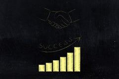 Negócio do investimento com stats bem sucedido do crescimento positivo abaixo Imagem de Stock Royalty Free