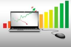 Negócio do portátil e gráfico de barra do crescimento  Foto de Stock Royalty Free