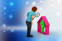 Negócio dos bens imobiliários com ponto de interrogação Fotografia de Stock Royalty Free