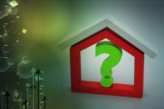 Negócio dos bens imobiliários com ponto de interrogação Fotos de Stock