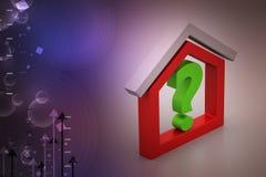 Negócio dos bens imobiliários com ponto de interrogação Imagens de Stock