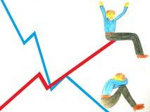 Negócio dos gráficos Elevação e diminuição de negócio Isolado ilustração royalty free