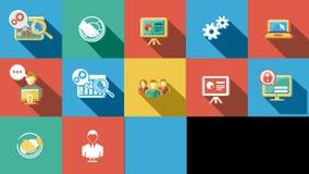 Negócio e ícones lisos Startup ajustados 4K Alpha Channel