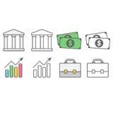 Negócio e bloco financeiro dos ícones Foto de Stock Royalty Free