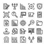 Negócio e linha ícones 20 do escritório do vetor Imagens de Stock Royalty Free
