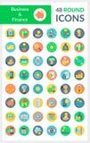 Negócio e mercado em volta dos ícones Fotografia de Stock Royalty Free