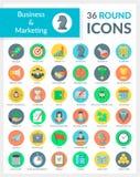 Negócio e mercado em volta dos ícones Imagens de Stock