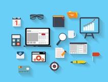 Negócio e vetor liso Ilustration dos ícones do escritório Foto de Stock