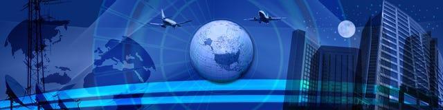 Negócio em torno da bandeira do mundo Fotos de Stock