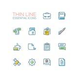 Negócio, escritório - única linha fina ícones ajustados Fotografia de Stock
