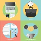 Negócio, escritório e ícones dos artigos do mercado Fotos de Stock Royalty Free