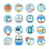 Negócio, escritório e ícones dos artigos do mercado Imagens de Stock