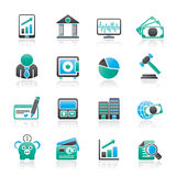 Negócio, finança e ícones do banco Foto de Stock Royalty Free