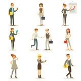 Negócio, finança e empregados de escritório nos ternos ocupados no grupo do trabalho ilustração do vetor