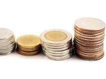 Negócio financeiro, economia, moedas, dinheiro do baht tailandês Imagem de Stock