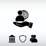 Negócio global, ícone do homem de negócio, ilustração do vetor De liso Imagens de Stock