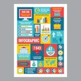 Negócio infographic - cartaz do mosaico com ícones no estilo liso do projeto Os ícones do vetor ajustaram-se Imagens de Stock