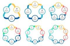 Negócio Infographics Diagramas com 3 - 8 porções Fotografia de Stock Royalty Free