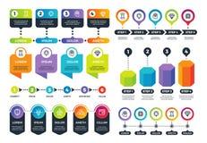 Negócio Infographics Gráficos da informação, espaço temporal e cartas circulares abstratas com ícones do mercado Grupo do vetor ilustração stock