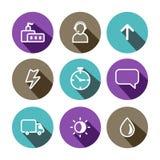 Negócio liso do vetor e ícones coloridos da construção ajustados ilustração do vetor
