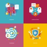 Negócio liso dos conceitos de projeto, consulta, planeamento, serviços ilustração stock