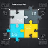 Negócio moderno infographic para sua apresentação Quatro partes do enigma Vetor ilustração do vetor