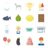Negócio, natureza, realizações e o outro ícone da Web no estilo dos desenhos animados menina, corte de cabelo, resticons na coleç ilustração royalty free