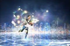 Negócio no movimento Meios mistos Meios mistos Imagens de Stock Royalty Free