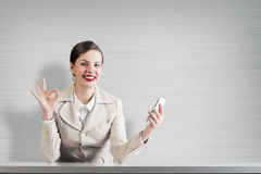 Negócio no telefone Fotografia de Stock