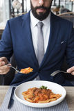 Negócio Person Dining Indoors Concept Fotos de Stock Royalty Free