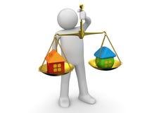 Negócio - pesando ofertas dos bens imobiliários Fotos de Stock