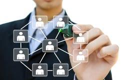 Negócio que desenha a estrutura de rede social Fotos de Stock Royalty Free