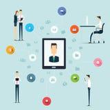 Negócio que trabalha na linha conexão de rede no móbil ilustração royalty free