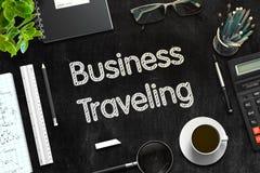 Negócio que viaja - texto no quadro preto rendição 3d Fotos de Stock Royalty Free
