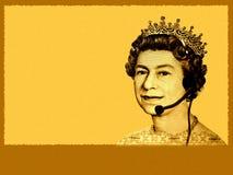 Negócio/serviço de atenção a o cliente conceptuais. A cabeça da rainha da moeda de Inglaterra, com auriculares imagem de stock royalty free