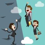 Negócio Startup, ilustração lisa do projeto Homem de negócios e mulher de negócios em um foguete Team o trabalho Fotografia de Stock