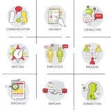 Negócio Team Meeting Brainstorm Process, grupo de consulta do ícone de uma comunicação da vaga do candidato ilustração royalty free