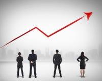 Negócio Team Watching Sales Grow Up imagem de stock