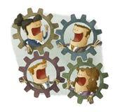 Negócio três que conecta rodas denteadas internas Fotografia de Stock