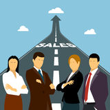 Negócio um fundo, homens de negócios do grupo em uma maneira ao sucesso Foto de Stock